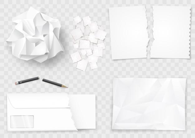 Set di fogli di carta stropicciata e penna