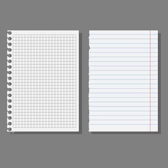 Set di fogli, pagine di quaderni di scuola.