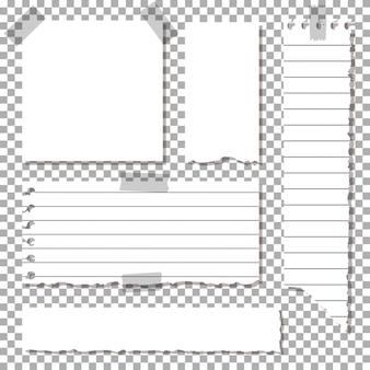 Set di fogli strappati, pezzo di carta incollato su nastro adesivo.