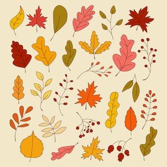 Set di foglie d'autunno, illustrazione vettoriale