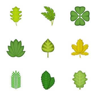 Set di foglie di foresta, stile cartoon