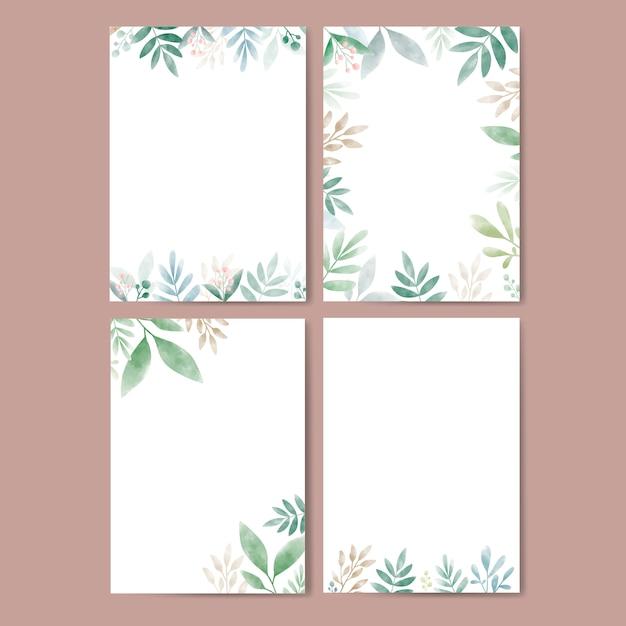 Set di foglie in acquerello con spazio di copia