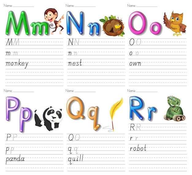 Set di foglio di lavoro alfabeto su carta bianca