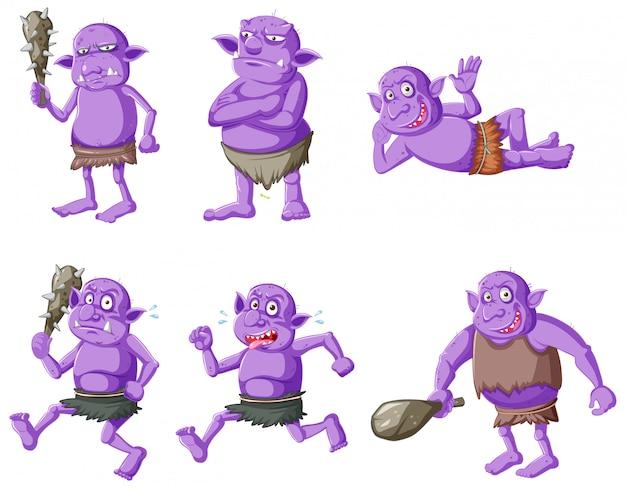 Set di folletto viola o troll in diverse pose nel personaggio dei cartoni animati