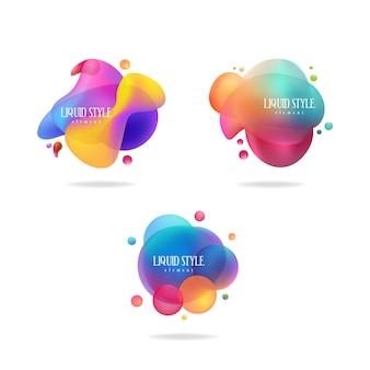Set di forma liquida astratta. design fluido, astratto banner moderno