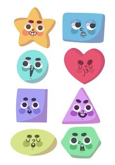 Set di forme carine con facce doodle