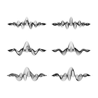 Set di forme d'onda su sfondo bianco, illustrazione