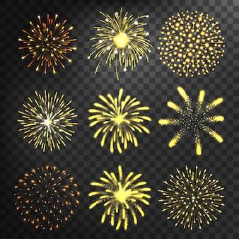Set di forme diverse di fuochi d'artificio