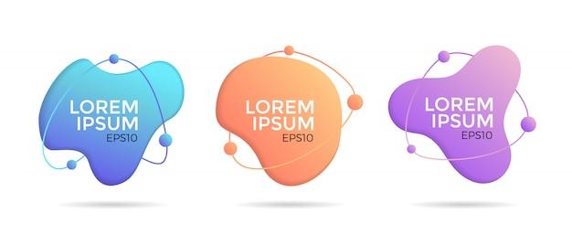 Set di forme geometriche astratte di colore liquido.