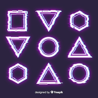 Set di forme geometriche glitch