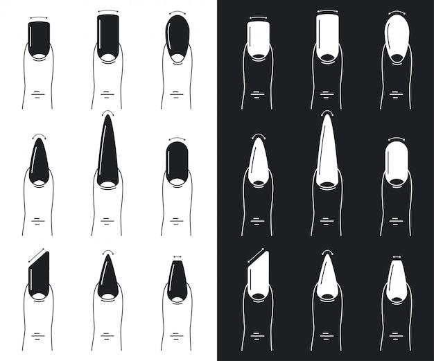 Set di forme per unghie. illustrazione di contorno piatto manicure isolato su uno sfondo bianco e nero.