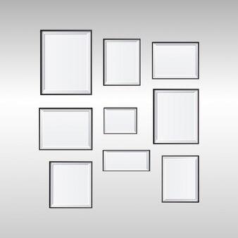 Set di foto bianco vintage cornice isolato con tracciato di ritaglio