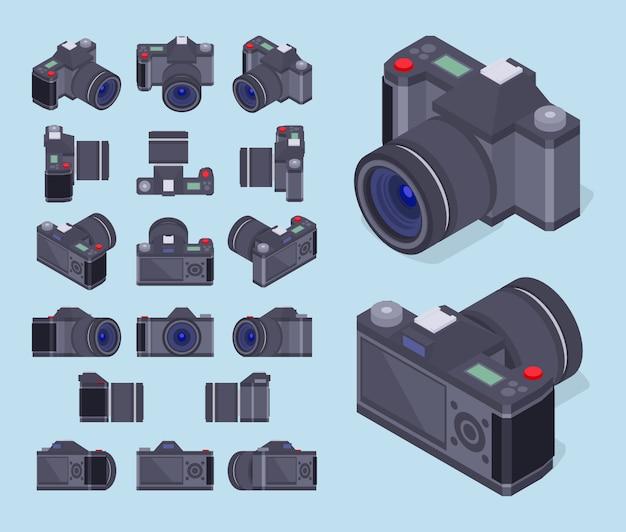 Set di fotocamere fotografiche isometriche