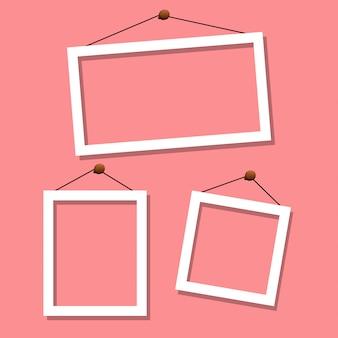 Set di fram su sfondo rosa