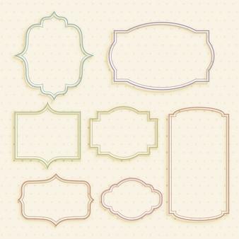 Set di frame di etichette vintage vuoto classico