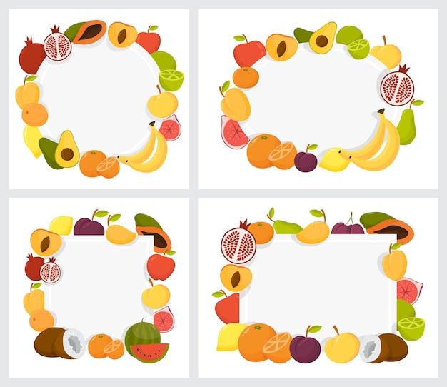 Set di frame di frutta colorata. raccolta di sfondo tropicale