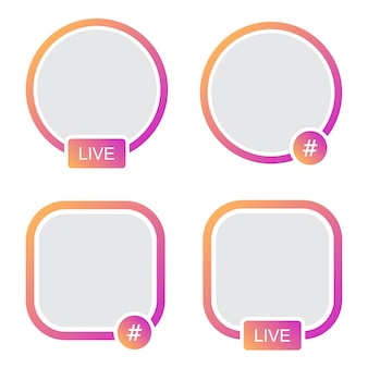 Set di frame di icone avatar. streaming video di storie live di hashtag