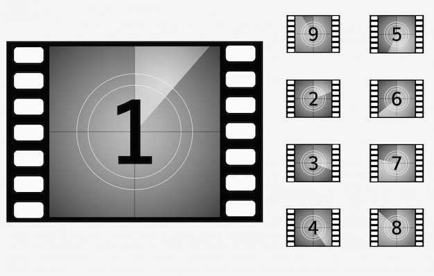 Set di frame di presentazione cinematografica timer conto alla rovescia di film