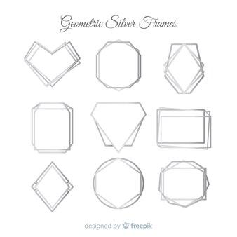 Set di frame in argento texture metallica