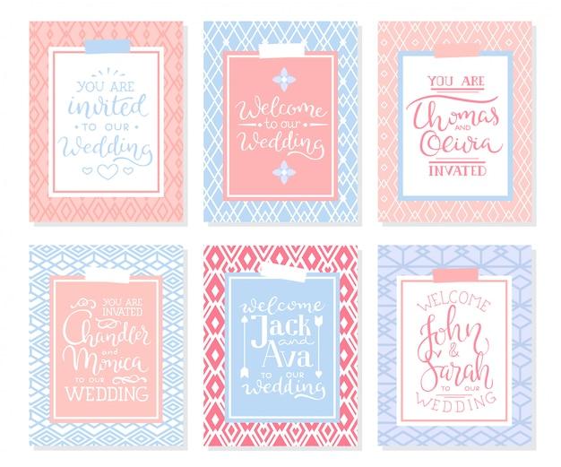 Set di frame per invito a nozze; foglie, acquerello
