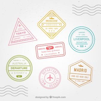 Set di francobolli di città con diversi disegni e colori
