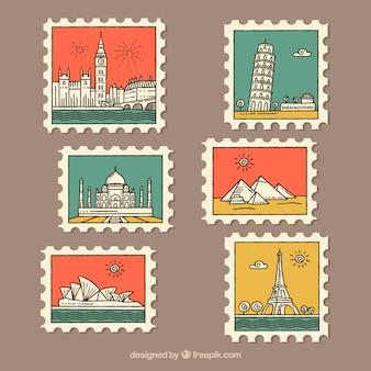 Set di francobolli di città con elementi colorati