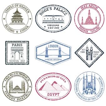 Set di francobolli di monumenti