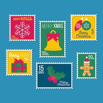 Set di francobolli di natale design piatto