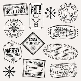 Set di francobolli di natale grunge. illustrazione