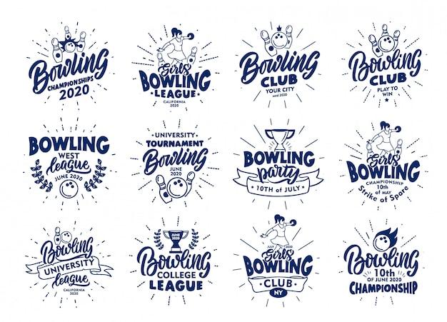 Set di francobolli e emblemi di bowling vintage. distintivi blu, adesivi