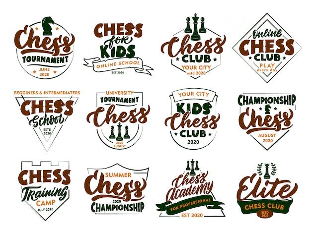 Set di francobolli e emblemi di scacchi vintage. distintivi colorati, modelli, adesivi isolati
