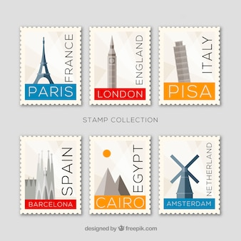 Set di francobolli punto di riferimento con città e monumenti