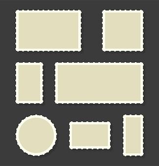 Set di francobollo. bordo della cartolina isolato in stile retrò