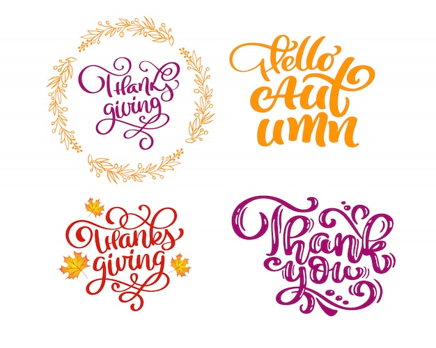 Set di frasi di calligrafia per l'autunno.