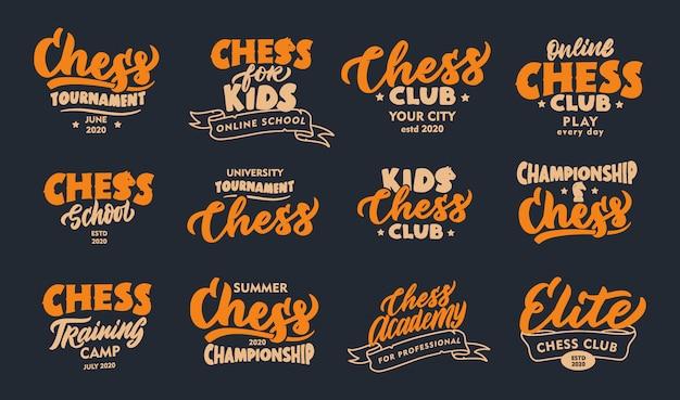 Set di frasi vintage di scacchi. emblemi sportivi, badge, modelli, adesivi