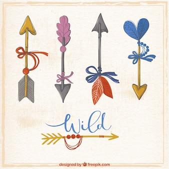 Set di frecce acquerello decorativi