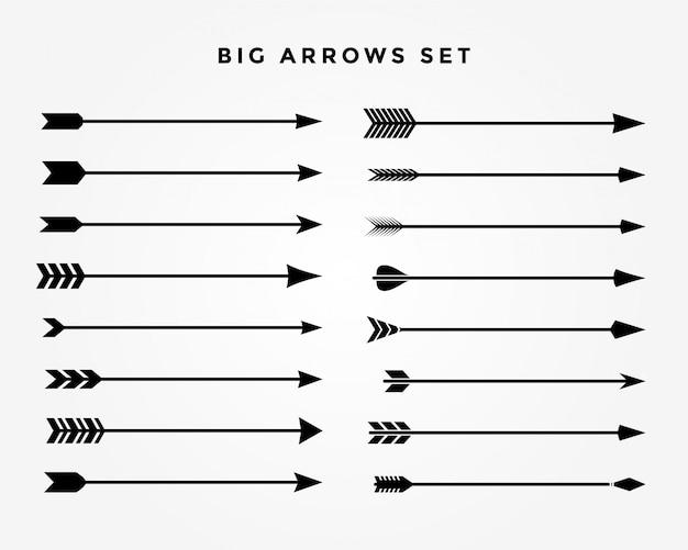 Set di frecce classiche vintage di sedici stili