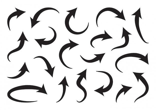 Set di frecce curve diverse.