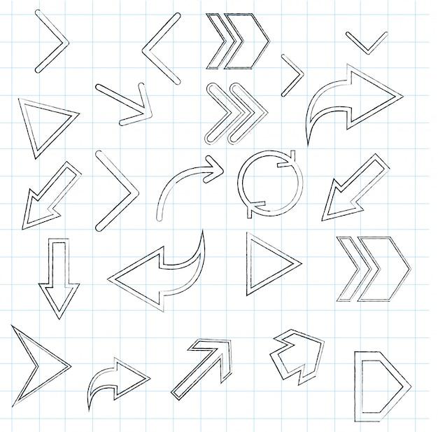Set di frecce di disegno a mano - grafica vettoriale