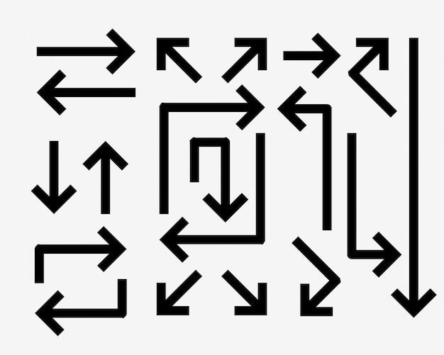 Set di frecce direzionali in stile linea in grassetto