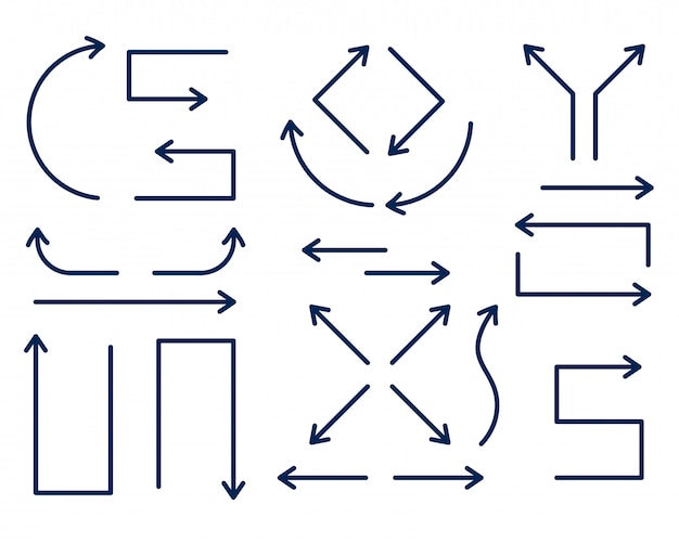 Set di frecce direzionali in stile linea sottile