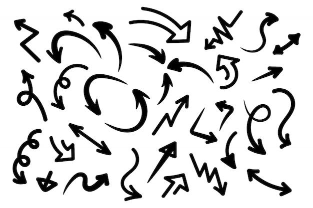 Set di frecce disegnate a mano, disegno grafico vettoriale