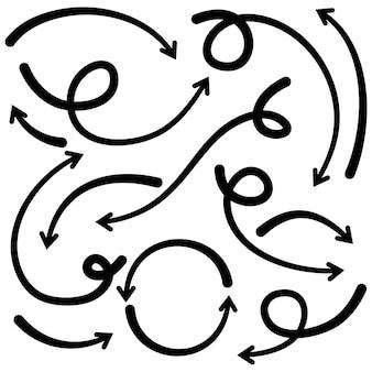 Set di frecce disegnate a mano. elementi di design di doodle. illustrazione su fondo bianco per affari infographic, insegna, web e progettazione di massima.