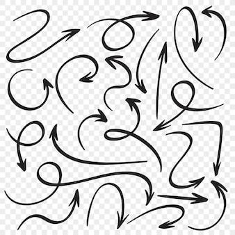 Set di frecce disegnate a mano. puntatori a freccia del fumetto. insieme di vettore di schizzo del puntatore di direzione