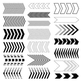 Set di frecce. freccia moderna. set di frecce lineari