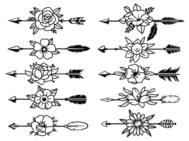 Set di frecce indiane con fiori. raccolta di varie frecce tribali etniche con un bouquet floreale.
