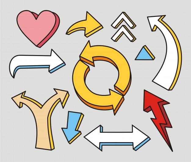 Set di freccia diversa disegnata a mano
