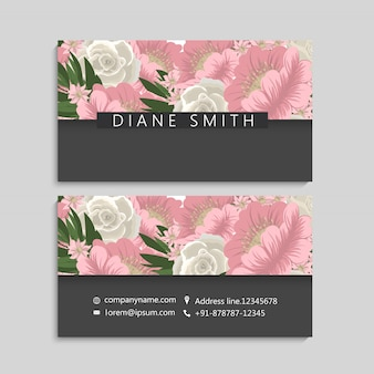 Set di fronte e retro del biglietto da visita con fiori