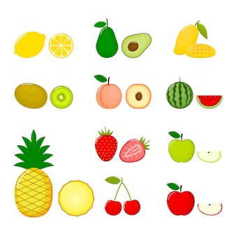 Set di frutta ananas, ciliegia, avocado, kiwi, limone, mela, pesche, anguria, fragola e mango