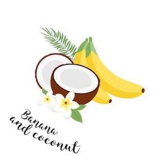 Set di frutta divertente. banane, noci di cocco e foglie. set di illustrazione vettoriale icone frutta tropicale con foglie e fiori. set di illustrazioni trendy vettoriali isolate su bianco.
